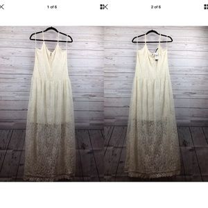 Chelsea & Theodore Ivory Lace Strap Maxi Dress